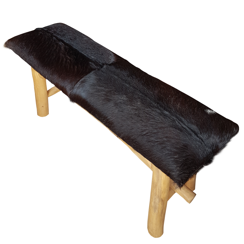 Black Goatskin Bench